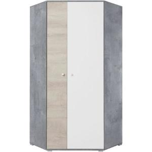Rohová Skříň Sigma 90cm Beton/Bílá/Dub obraz