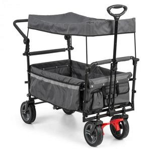 Waldbeck Easy Rider, tahací vozík se stříškou, do 70 kg, teleskopická tyč, sklopný, šedý obraz