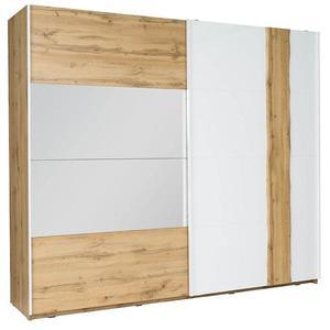 Skříň Wood 200 cm Bílá/Dub Wotan obraz