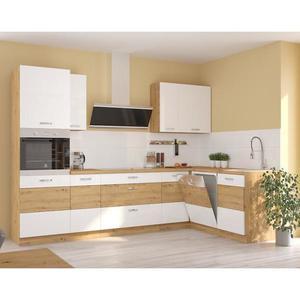 Rohová kuchyňská linka Artisan 285 x 170 cm, s pracovní deskou, bílá/ dub artisan obraz