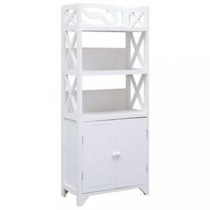 Koupelnová skříňka dřevo Dekorhome Bílá obraz