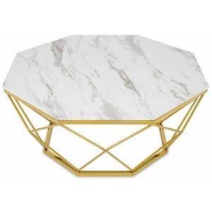 DekorStyle Konferenční stolek VOLARE 100 cm bílý/zlatý obraz