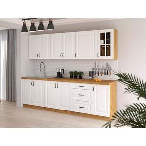 Kuchyňská linka Stilo 260cm, bez pracovní desky, bílá/artisan obraz