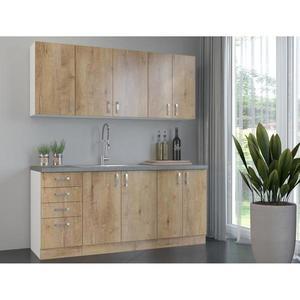 Kuchyňská linka Sara 180 cm, bez pracovní desky, dub lefkas/bílá obraz