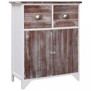 Komoda se 2 zásuvkami a skříňkou masivní dřevo Dekorhome Bílá / hnědá obraz