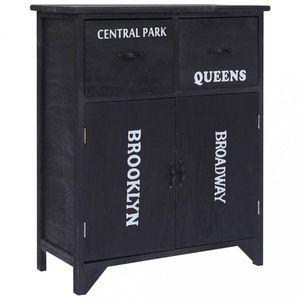 Komoda se 2 zásuvkami a skříňkou masivní dřevo Dekorhome Černá / bílá obraz