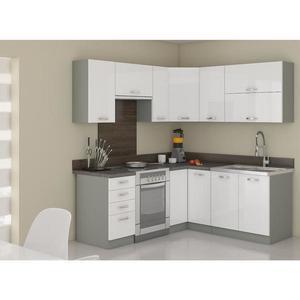 Rohová kuchyňská linka Bianka 190x170 cm, s pracovní deskou, bílá/ šedá obraz