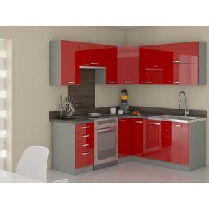 Rohová kuchyňská linka Rose 190x170 cm, s pracovní deskou, červená/ šedá obraz