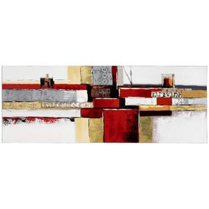 Monee OLEJOMALBA, abstraktní, 150/55 cm - žlutá, šedá, červená obraz