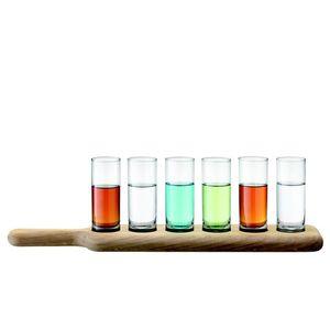 LSA Paddle dřevěný tác se skleničkami na destilát, čiré, 6 ks obraz
