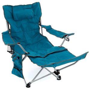 Divero D76013 kempingová židle s odnímatelnou podnožkou, modrá obraz