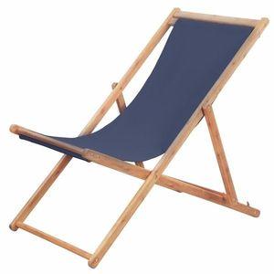Skládací plážová židle látková Modrá obraz