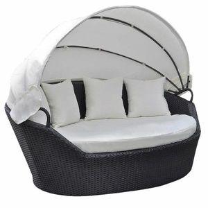Zahradní ratanová postel s baldachýnem Černá obraz