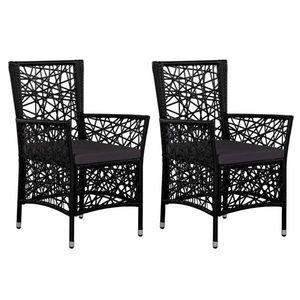 Zahradní židle 2 ks polyratan Dekorhome Černá obraz