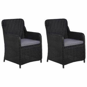 Zahradní židle s poduškami 2 ks polyratan Dekorhome Černá obraz