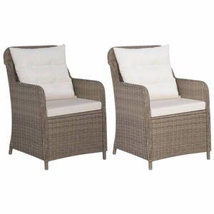 Zahradní židle 2 ks s poduškami hnědá / krémová Dekorhome obraz