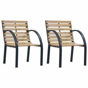 Zahradní židle 2 ks dřevo / ocel Dekorhome Hnědá obraz