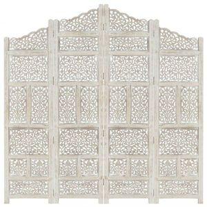 Dřevěný paraván 4dílný Dekorhome Bílá obraz
