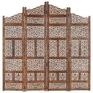 Dřevěný paraván 4dílný Dekorhome Hnědá obraz