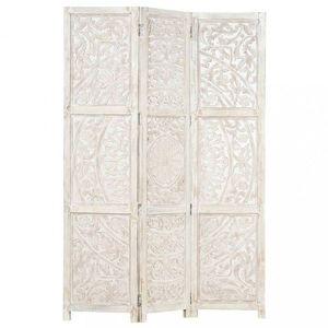 Dřevěný paraván 3dílný Dekorhome Bílá obraz