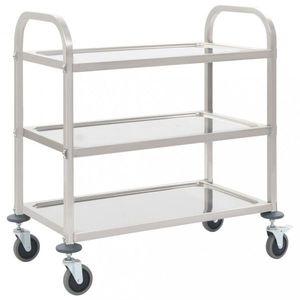 Kuchyňský vozík nerezová ocel Dekorhome 107x55x90 cm (3 police) obraz