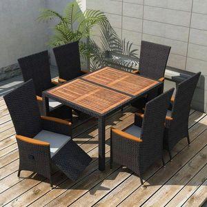 Zahradní jídelní set 7 ks černá / hnědá Dekorhome obraz