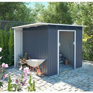 Zahradní domek s přístřeškem CH šedá Dekorhome obraz