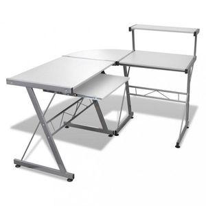 Rohový PC stůl Dekorhome Bílá obraz