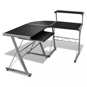 Rohový PC stůl Dekorhome Černá obraz
