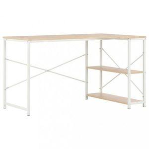 Rohový psací stůl 120x72 cm Dekorhome Bílá / dub obraz