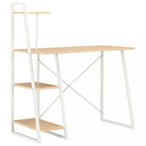 Psací stůl s poličkami Dekorhome Bílá / dub obraz