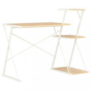 Psací stůl s policemi dřevotříska / ocel Dekorhome Bílá / dub obraz