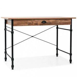 Psací stůl se zásuvkou dub / černá Dekorhome obraz