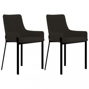 Jídelní židle 2 ks látka / ocel Dekorhome Šedohnědá obraz