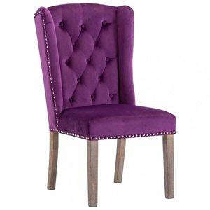 Jídelní židle samet / kaučukovník Dekorhome Fialová obraz