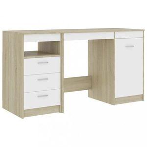 Psací stůl se zásuvkami a skříňkou 140x50 cm Dekorhome Dub sonoma / bílá obraz