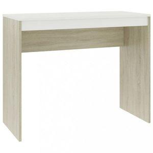 Psací stůl dřevotříska Dekorhome Bílá / dub sonoma obraz
