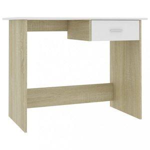 Psací stůl se zásuvkou 100x50 cm Dekorhome Dub sonoma / bílá obraz