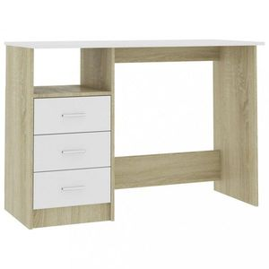Psací stůl se zásuvkami 110x50 cm Dekorhome Dub sonoma / bílá obraz