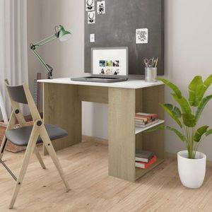 Psací stůl s policemi 110x60 cm Dekorhome Dub sonoma / bílá obraz
