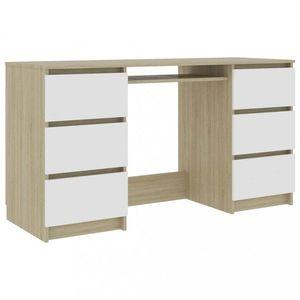 Psací stůl se 6 šuplíky 140x50 cm Dekorhome Dub sonoma / bílá obraz
