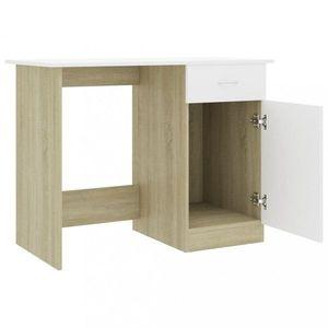 Psací stůl se skříňkou 100x50 cm Dekorhome Dub sonoma / bílá obraz
