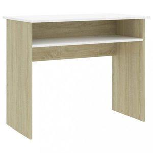 Psací stůl s policí 90x50 cm Dekorhome Dub sonoma / bílá obraz