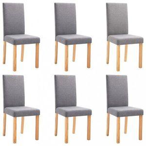 Jídelní židle 6 ks látka / dřevo Dekorhome Světle šedá obraz