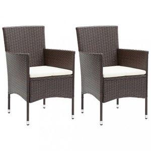 Zahradní židle 2 ks umělý ratan Dekorhome Hnědá obraz
