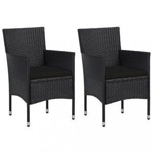 Zahradní židle 2 ks umělý ratan Dekorhome Černá obraz