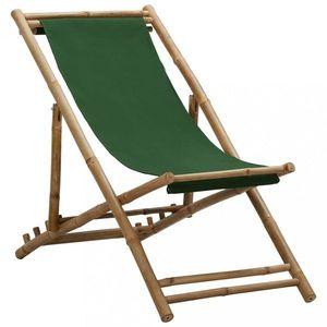 Skládací plážové lehátko bambus / plátno Dekorhome Zelená obraz