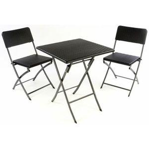 Garthen 37114 Zahradní set stůl a 2 židle ratanového vzhledu, skládací obraz