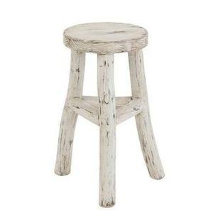J-Line by Jolipa Dřevěná bílá kulatá stolička Ibiza - Ø 26*50cm obraz