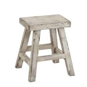 J-Line by Jolipa Dřevěná bílá stolička Ibiza - 40*37*45cm obraz
